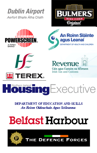 George Best Belfast City Airport; Dublin Airport; Bulmers; Powerscreen; Irish Department of Health and Children; HSE Ireland; Terex; Irish Revenue Commissioners; Northern Ireland Housing Executive; Irish Department of Education and Skills; Belfast Harbour; Irish Defence Forces